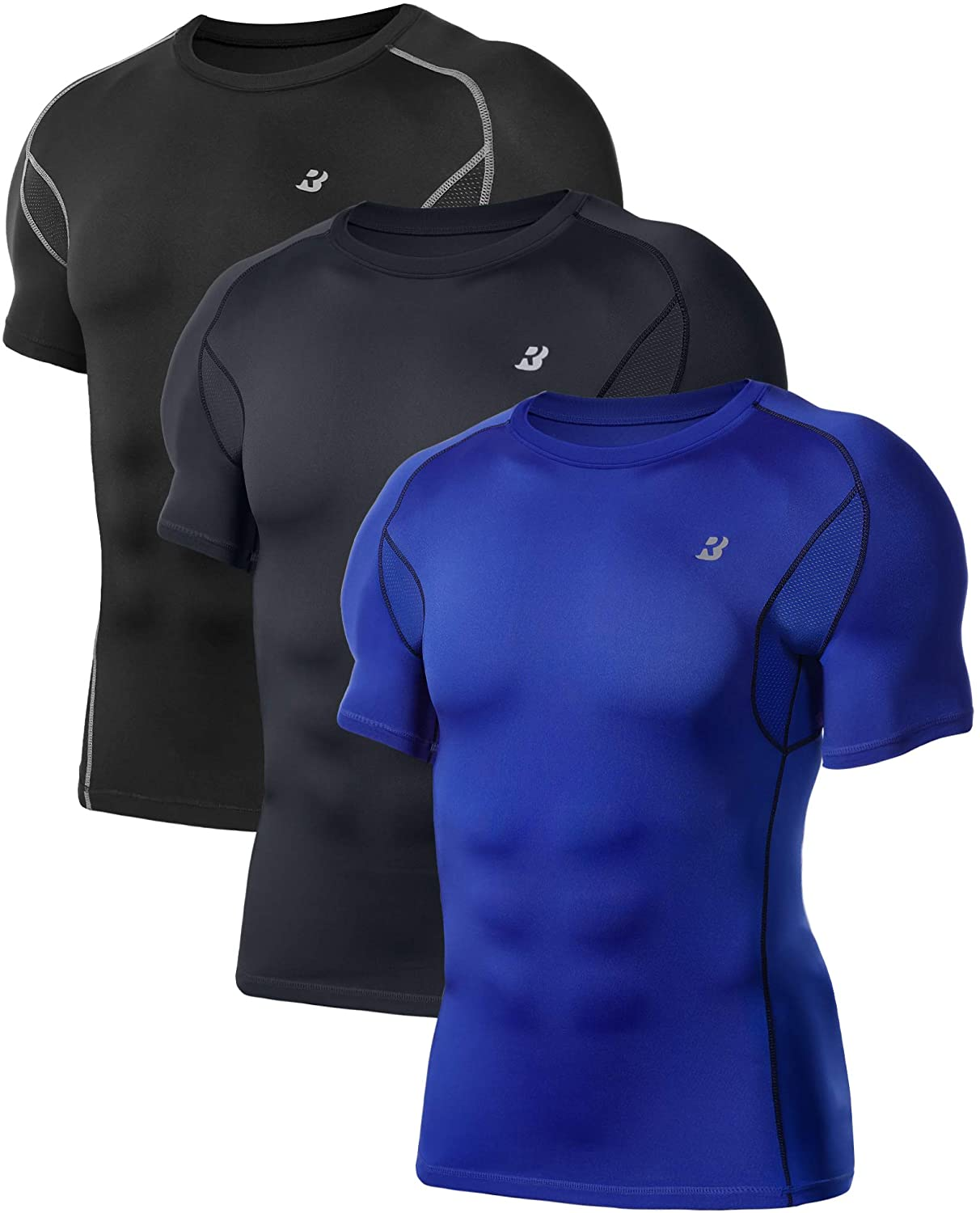 3 Pack Underarm Mesh Workout Gym Athletic Under Base Layer Sports Shirts