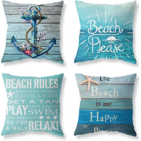 Summer Holiday Set of 4 Decorative Throw Pillow Covers