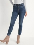 Mid-Rise Button-Fly Rockstar Super Skinny Cut-Off Ankle Jeans $19.97